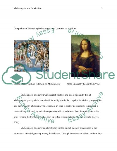 One Work of Art from Michelangelo Buonarroti and One work of Art from Leonardo da Vinci