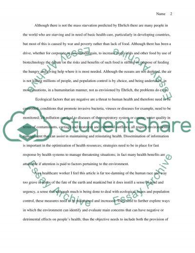 Enviromental health essay example