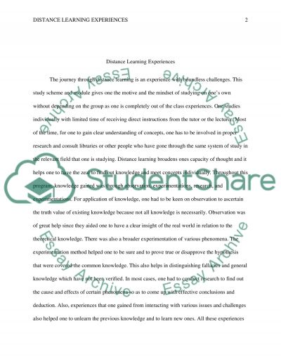 Development, experience and completition of distance learning course essay example