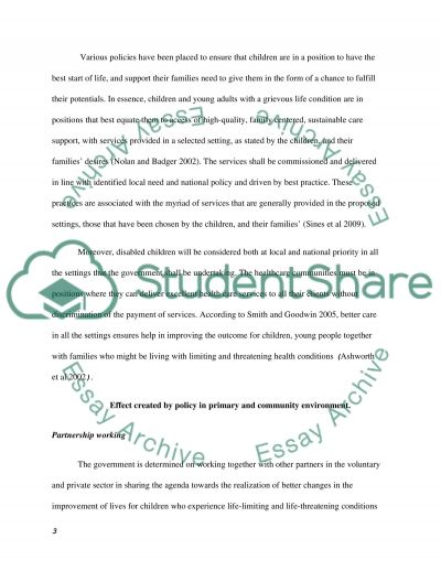 Primary and Community Care Policy essay example