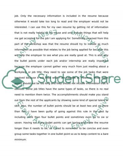 Rusume workshop essay example