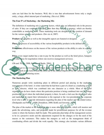 Marketing strategies and tools that affect hotel sales essay example