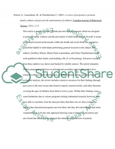 Psychology Annotated Bibliography Essay example