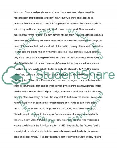 Copy Protection Of Fashion Design Is A Futile Exercise essay example