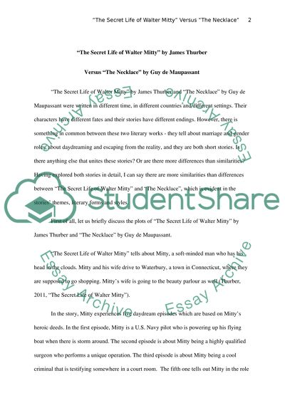 Essay Writing Format For High School Students The Secret Of Walter Mitty By Thueber Versus The Necklace By Maupassant English Essay Questions also Thesis For Compare Contrast Essay The Secret Of Walter Mitty By Thueber Versus The Necklace By Essay Essay On Cow In English