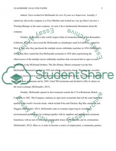 Leadership Analysis Paper Ray KrocMcdonalds Founder Essay – Analysis Essay Example