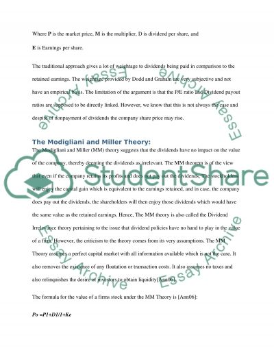 Dividend Policy Corporate Finance Essay Essay example