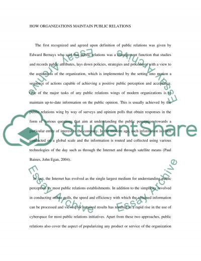 Objectives of an organizations public relations department essay example