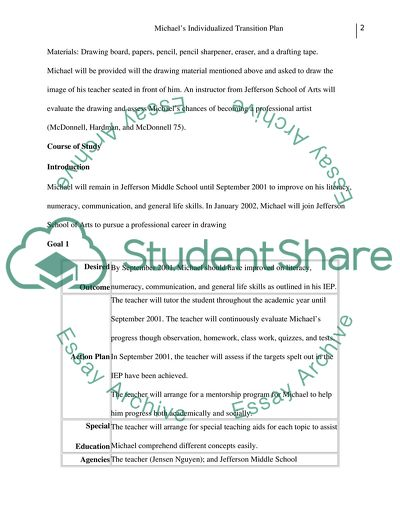 Individual Transition Plan for MIchael (student with learning disability)