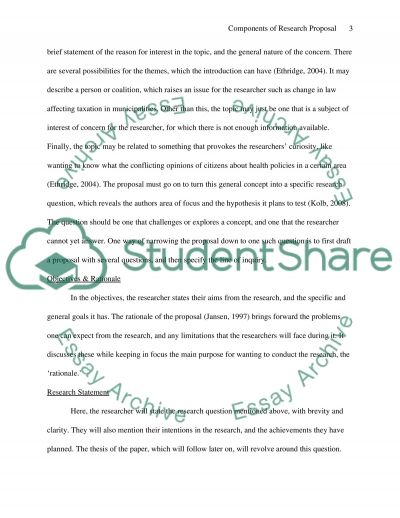 Components of Research Proposal essay example