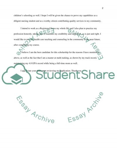 Registered Nurse Scholarship application Scholarship Essay example