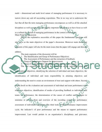 Managing performance essay example