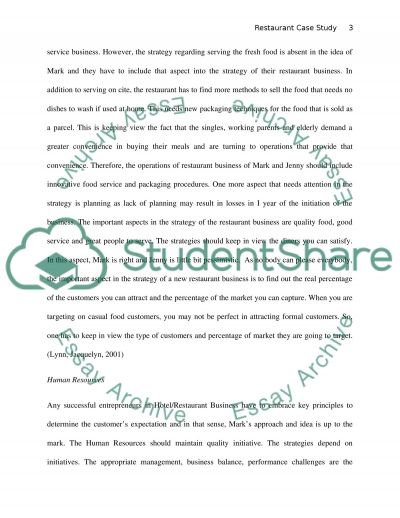 Restaurant With A Difference Case Study essay example