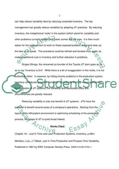 JIT variability essay example