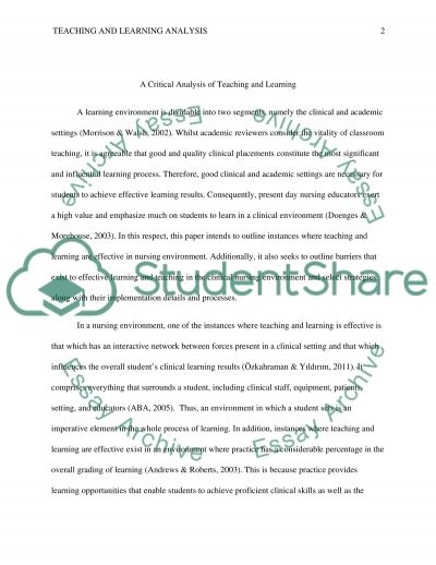 A Critical Analysis of Teaching and Learning  Coursework example