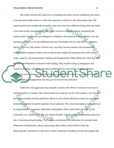 Teaching Profession essay example