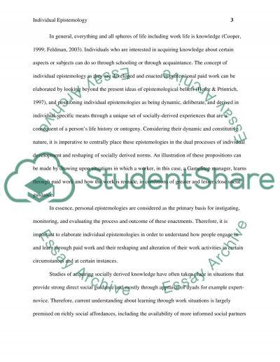 Epistemology essay example