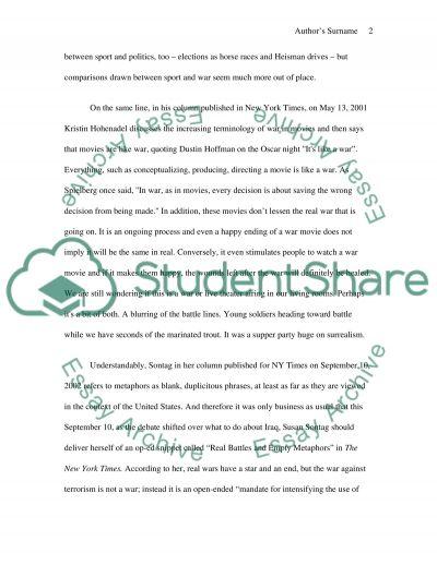 Metaphor of war essay example