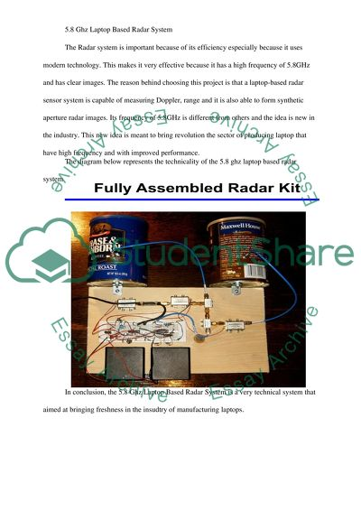 5.8 Ghz Laptop Based Radar System