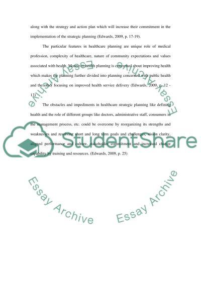 Strategic planning College Essay