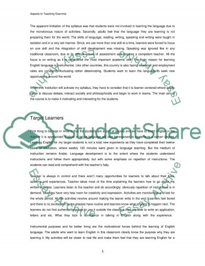 Approaches to Teaching Grammar essay example