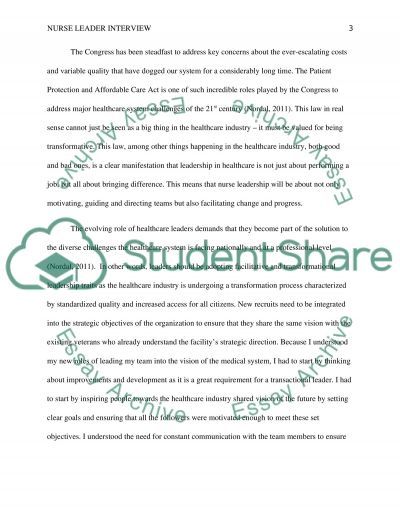 Nurse Leader Interview Essay Example – Leadership Essay Example