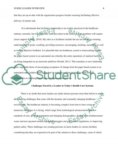 nurse leader interview essay example topics and well written  nurse leader interview essay example text preview