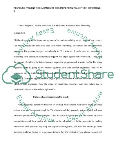 Essay With Thesis Violent Media English Is My Second Language Essay also Essays For High School Students Violent Media Essay Example  Topics And Well Written Essays    Environmental Science Essays
