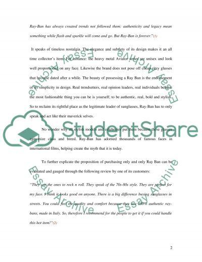 Ray Ban Sunglasses essay example