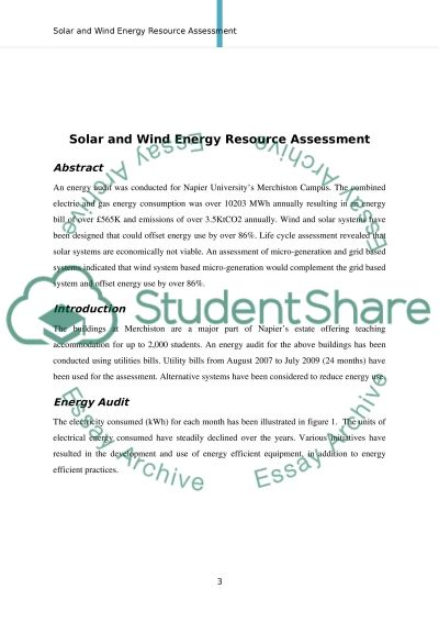 Solar & Wind Energy Resource Assessment essay example