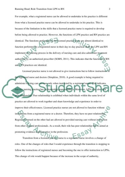role transition from lpn to rn essay