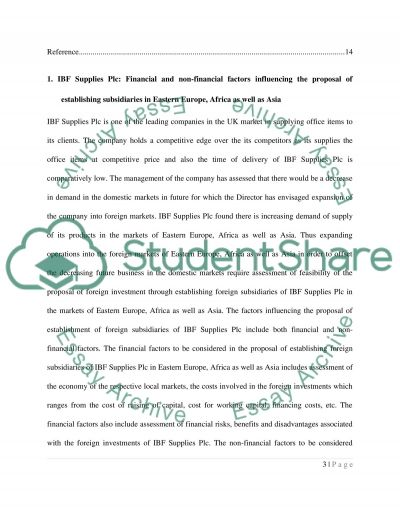 Finance and accounting essay: International business essay example