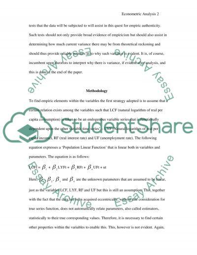 Econometric Analysis essay example