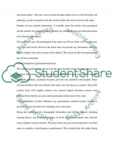 CASE-CONTROL RESEARCH STUDY essay example