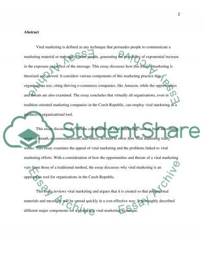 Viral Marketing essay example
