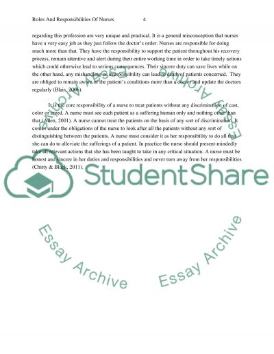 Roles and Responsibilities of Nurses essay example