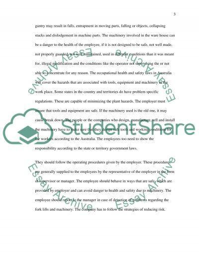 OH&S-Hazard audit & control essay example