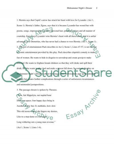A Midsummer Nights Dream Essay essay example