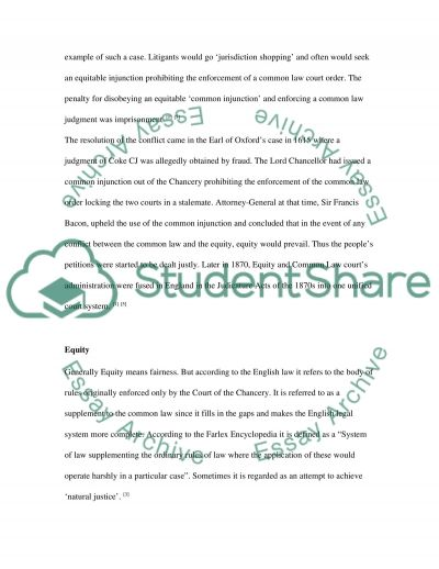 Business Law - Equity essay example