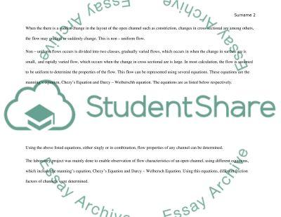 Open Channel Flow essay example