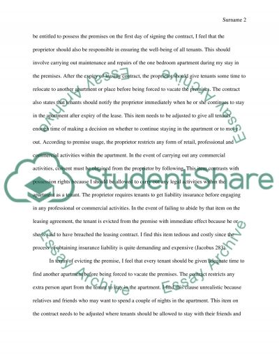 lease assingment Essay example