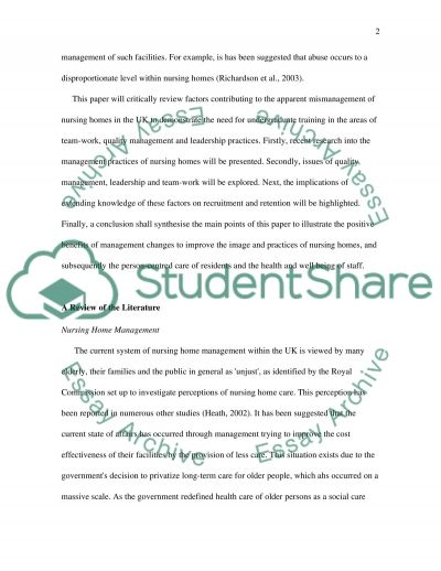 Nursing Home Management Essay example