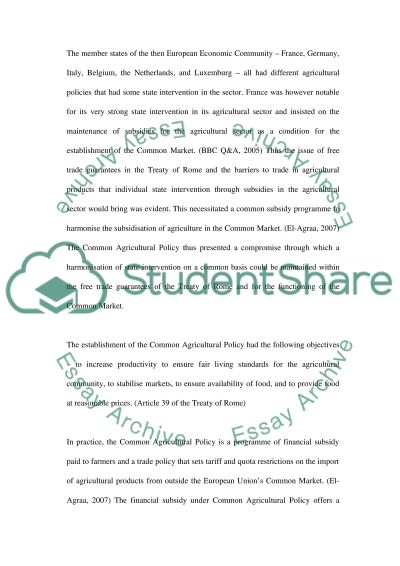 The Common Agricultural Policy essay example