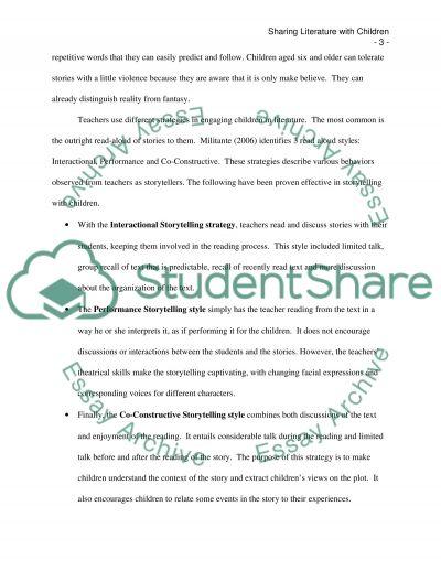 Sharing Literature with Children essay example