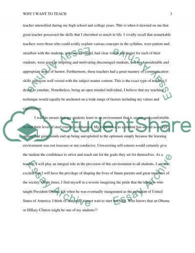 Why I Want to Teach essay example