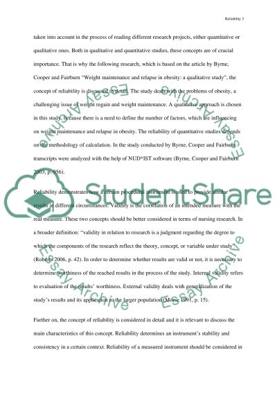 Reliability, Validity and Trustworthiness in Nursing Essay example