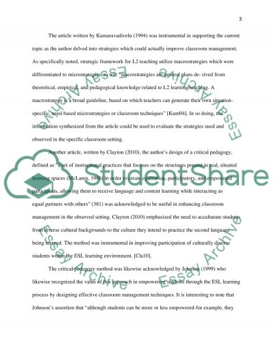 Critical Pedagogy Applications in Observed Classroom Management essay example