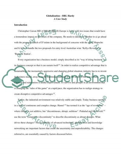 BRL Hardy Globalizing essay example