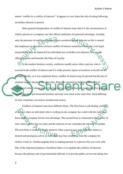Essay about conflict of interest