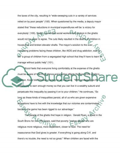 Jonathan Kozols Amazing Grace essay example